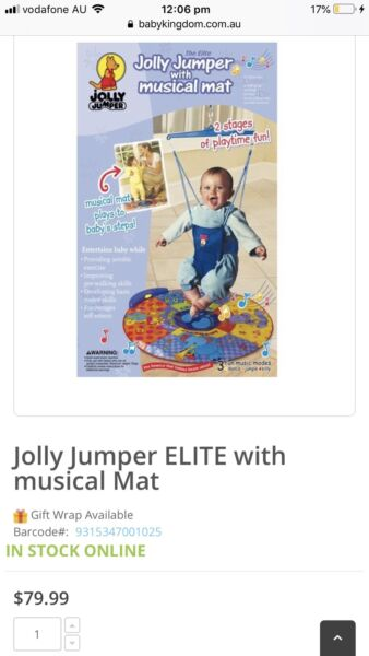 e4b7fbad7 Baby jolly jumper Elite with musical mat