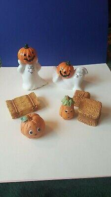 Lot of 6 Halloween Decorations Knick Knacks Figurines Ghosts & Pumpkins