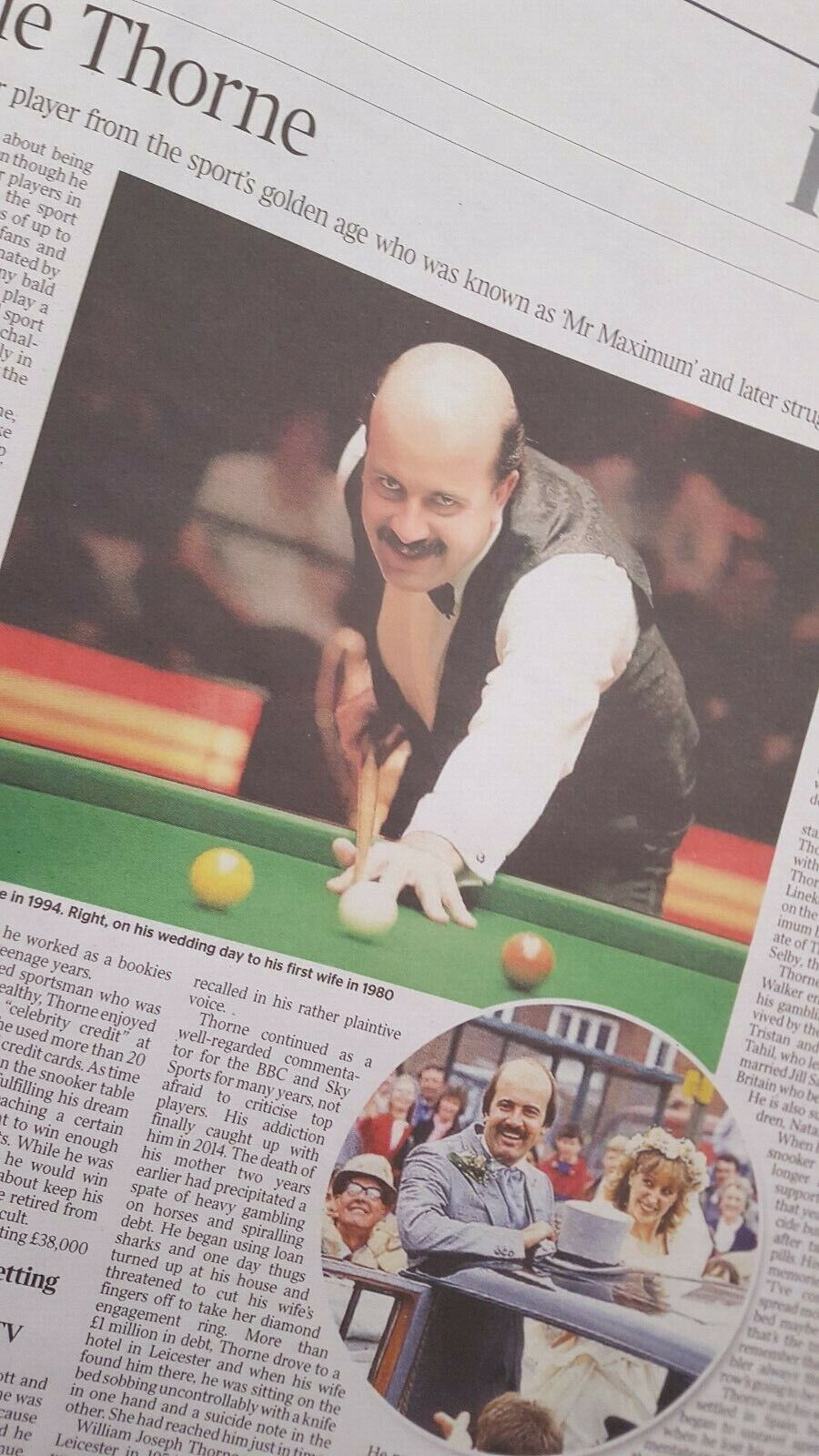 WILLIE THORNE. Times Obituary. SNOOKER PLAYER. 18.6.20 UK newspaper clipping