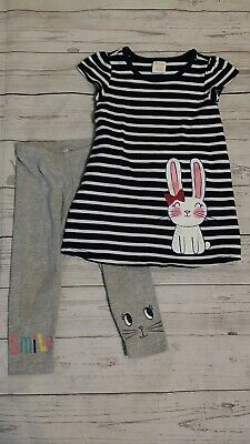 Gymboree Carters 12-18 Month Girl Striped Tunic Dress Bunny Gray Pant Legging