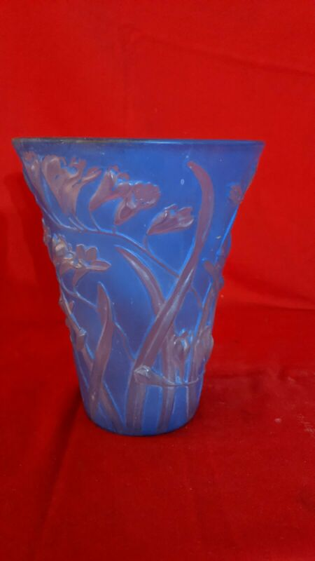 Phoenix Glass Blue Sculptured Artglass  Vase, Freesia Blue with Sticker