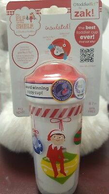 Christmas Sippy Cups (New ~ Elf on the Shelf Zak Perfect Flow Toddler Sippy Cup Christmas 8.7oz)
