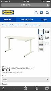 Almost New!! White Corner desk right sit/stand,  63x43 1/4 ""