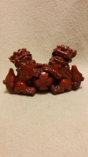 Foo Dogs, Red Resin Figurine