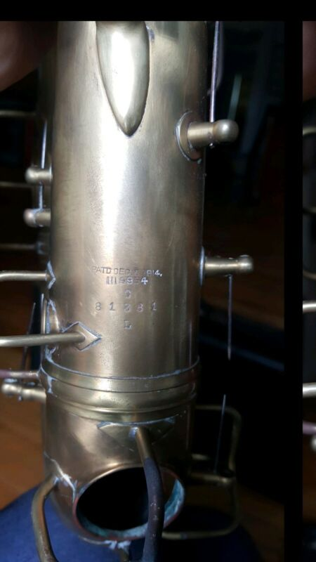 C.G. Conn Saxophone 1914 Patent. Body, Keys and Case for parts or rebuild.