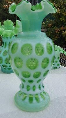 Fenton CoindotLime Green Vase