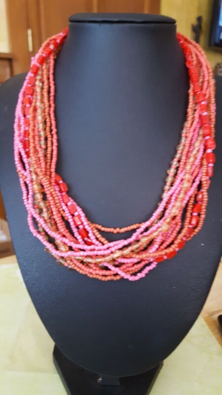 Vintage seed bead several strand necklace reds