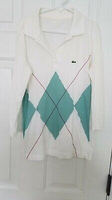 Lacoste white aqua argyle design, 3/4 sleeve cotton Polo Shirt, Size small