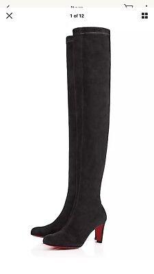 NIB Christian Louboutin Alta Top 70 Grey Suede Thigh High Tall Heel Boots 38.5