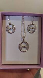 Michael Hill Sterling Silver Necklace and Drop Earrings Set Joondanna Stirling Area Preview