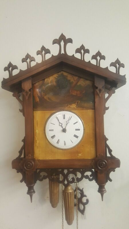 Beautiful antique tinplate cuckoo clock