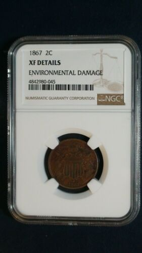 1867 Two Cent Piece NGC XF Details 2C Coin PRICED TO SELL FAST!