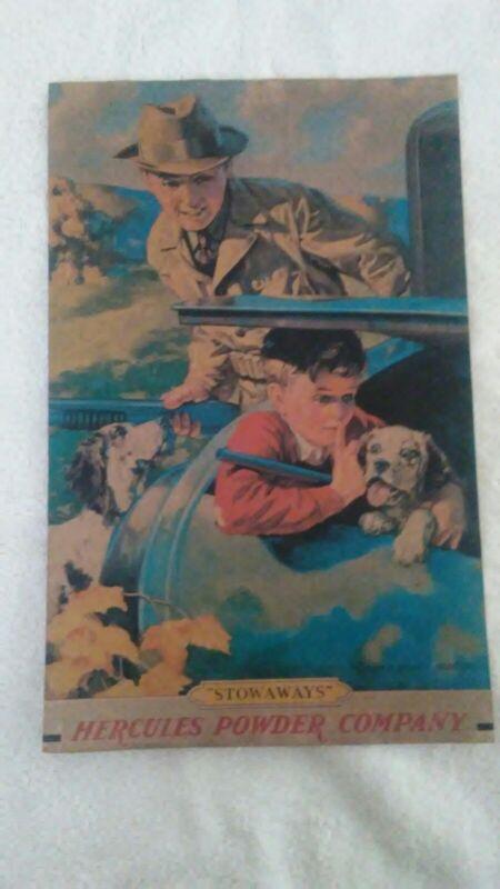 Hercules Powder Company Stowaways Dogs Car Trunk Shotguns Hunting RARE PAPER AD