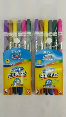 12 Pack Lot 2 In 1 Double Sided Markers Washable 12 Colors Broad Line