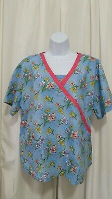 BEST MEDICAL WEAR XL FLORAL DESIGN SCRUB TOP