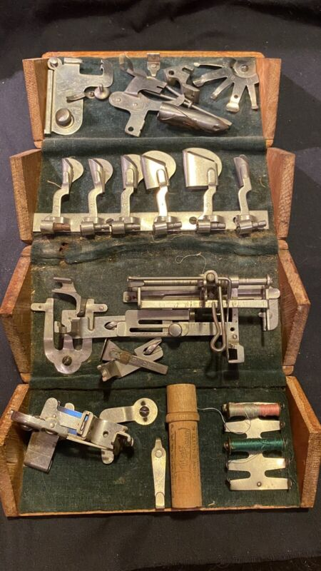 Antique Singer Sewing Machine Wooden Puzzle Box With Attachments & Needles 1889