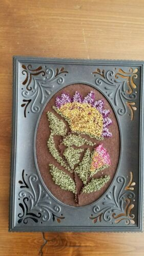 Hand Made Flower Punch Needle Embroidery on Wool Fabric Completed in Metal Frame