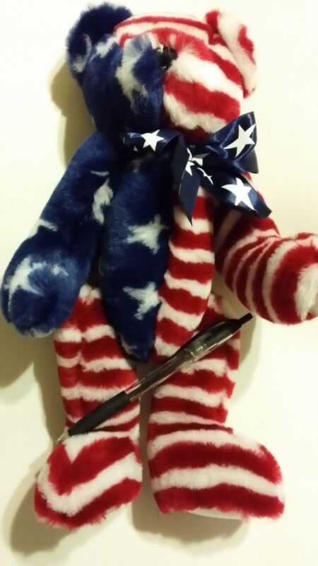 13 inch Jointed Patriotic Bear by Progressive Plush-ship free