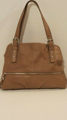 B Makowsky Large Tan Leather Satchel Shoulder Bag purse