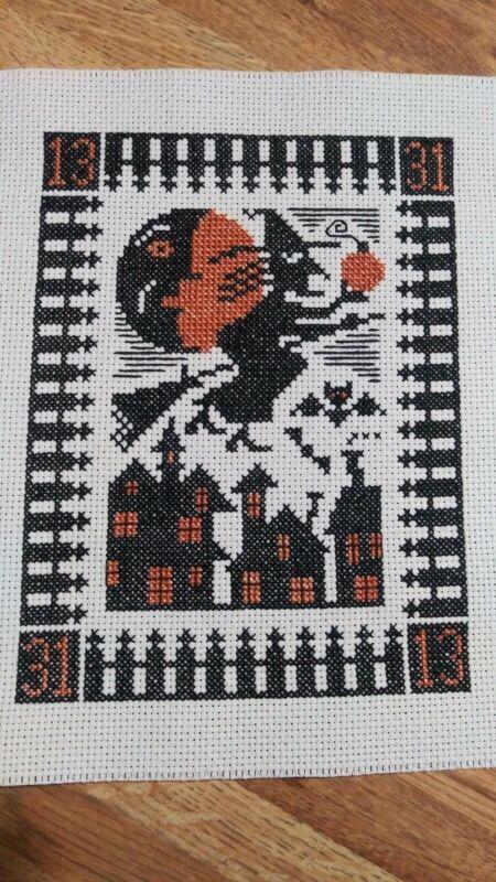 "Completed Cross Stitch Prairie Schooler "" Night Flight"" Halloween Sampler"