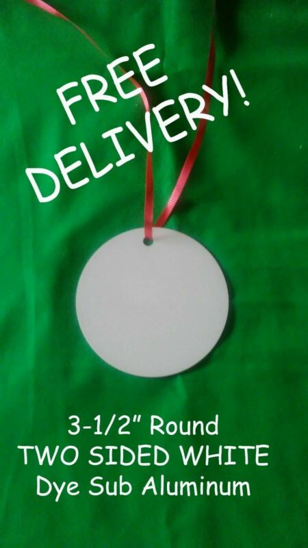 """3.5"""" Round Aluminum Sublimation Christmas Ornament Blanks $0.75ea delivered-100"""