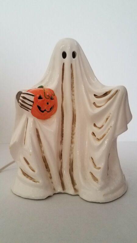 Vintage Ceramic Dept 56 Ghost Holding Pumpkin Lamp