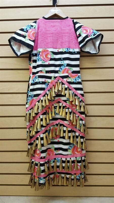 WHITE BLACK PINK GIRLS 170 JINGLE FLOWER DES.NATIVE AMERICAN INDIAN JINGLE DRESS