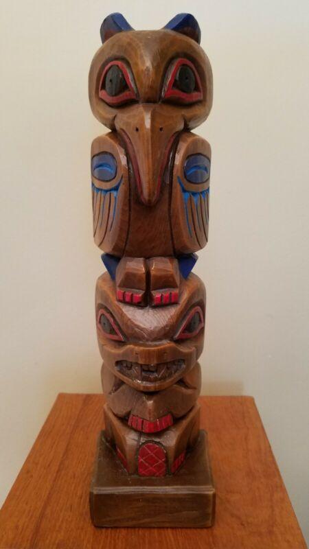 Vintage Northwest Coast Alaska Totem Pole Signed Carved by Raven