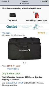 10/10 condition Baby jogger city select stroller travel bag