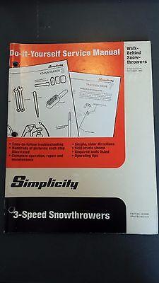 Simplicity Walk Behind Snow Thrower Service Repair Manual 1985