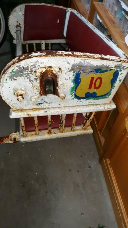 Vintage Wooden Ferris Wheel Seat Chair Fair Amusement Park Carnival GAS OIL