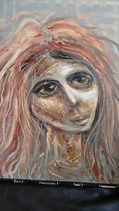 Expressionist Acrylic Painting of Woman