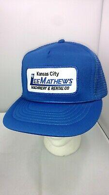best website b6ba7 ead9a Vtg Kansas City Mathews Machinery Rental Mesh Trucker Baseball Hat Snap Back