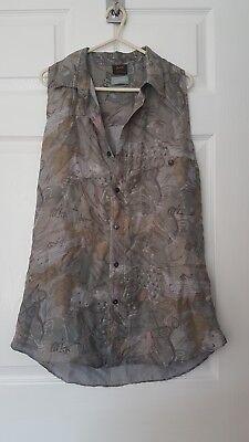 'POP Boutique' Vintage Silky patterned shirt size M, Grey/Lilac