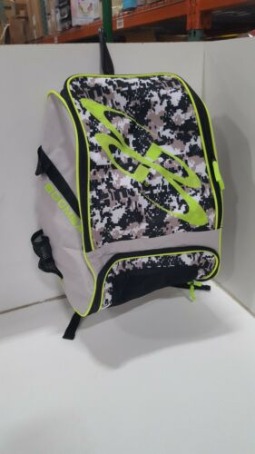 BOOMBAH -2 Bat Pack Baseball Softball Gear Bag Backpack Grey Camo/Green