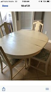 White wood kitchen table with 4 chairs