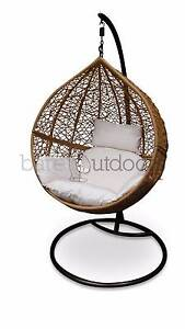 Outdoor Hanging Egg Chair - Natural Brown Wicker Basket Tullamarine Hume Area Preview