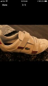Women's black and red Lacoste shoes