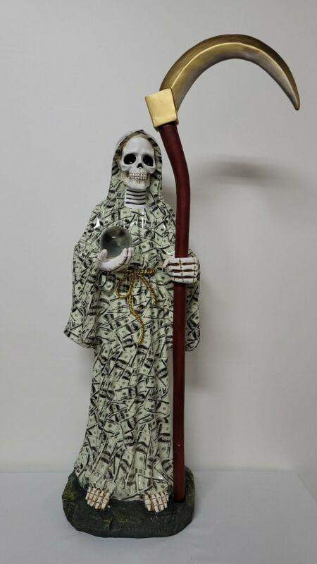 "Santa Muerte DInero 40"" Inch Money Statue Holy Death Grim Reaper Skull Skeleton"