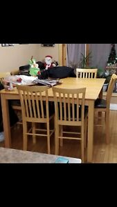 Maple table and 8 chairs for sale