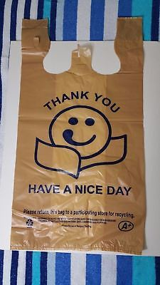 Large Brown Thank You Plastic Shopping Bag For Retail Grocery Stores 12x23