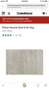 6x9 Crate and Barrel wool rug