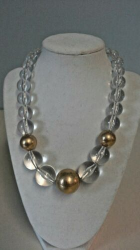 """Vintage Lucite Necklace Large Clear & Gold Tone Beads 18"""" - 20"""" Lobster Clasp"""