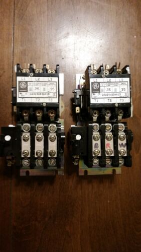 General Electric CR354AB3AA1B Motor Starter Contactor Used (LOT OF 2)
