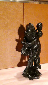 ANTIQUE-19C-CHINESE-IRONWOOD-HAND-CARVED-IMMORTAL-WITH-PITCH-STATUE-SIGNED-2