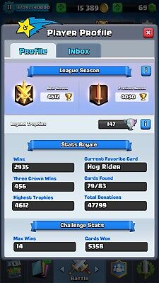 Arena 12 Clash Royale Account High Level Cards