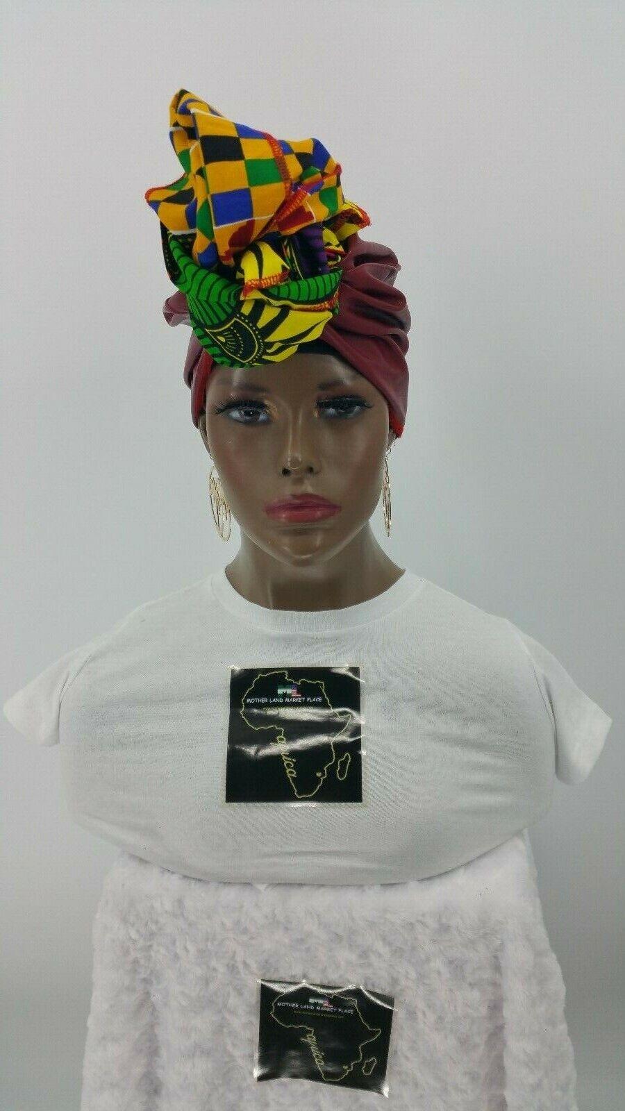 Kente Ankara Faux Leather Combo Headwrap,Infinity Neck-Wrap