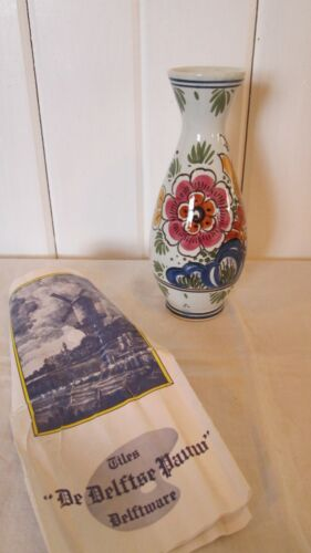 Polychrome Delft Vase 6 1/4 Pink Blue Yellow Floral White W Papers Holland