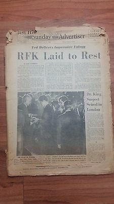 SUNDAY ADVERTISER RFK LAID TO REST JUNE 9 1968 NEWSPAPER