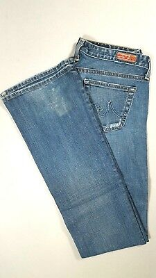 AG ADRIANO GOLDSCHMIED THE ANGEL Low Rise Boot Cut Jeans Distressed Size 26  Adriano Goldschmied Angel Jeans
